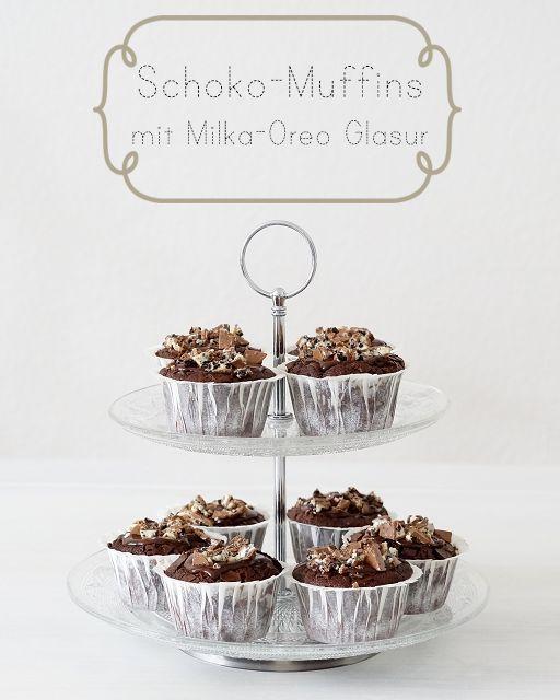 Schokoladen-Muffins mit Milka-Oreo Glasur