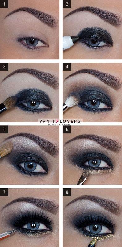 Makeup occhi con ombretto shimmer blu e glitter oro https://www.facebook.com/photo.php?fbid=10152165326088387&set=pb.278789638386.-2207520000.1396530887.&type=3&theater