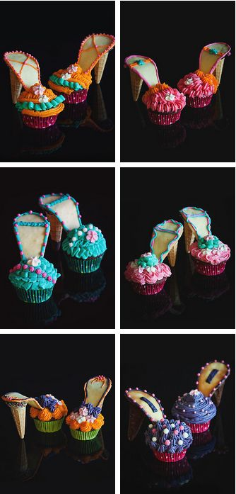 Karl Lagerfeld Shoe Cupcakes Tutorials  #fashion #shoe #cupcakes