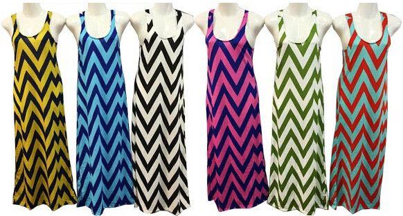 ladies long dress chevron print assorted colors Case of 12