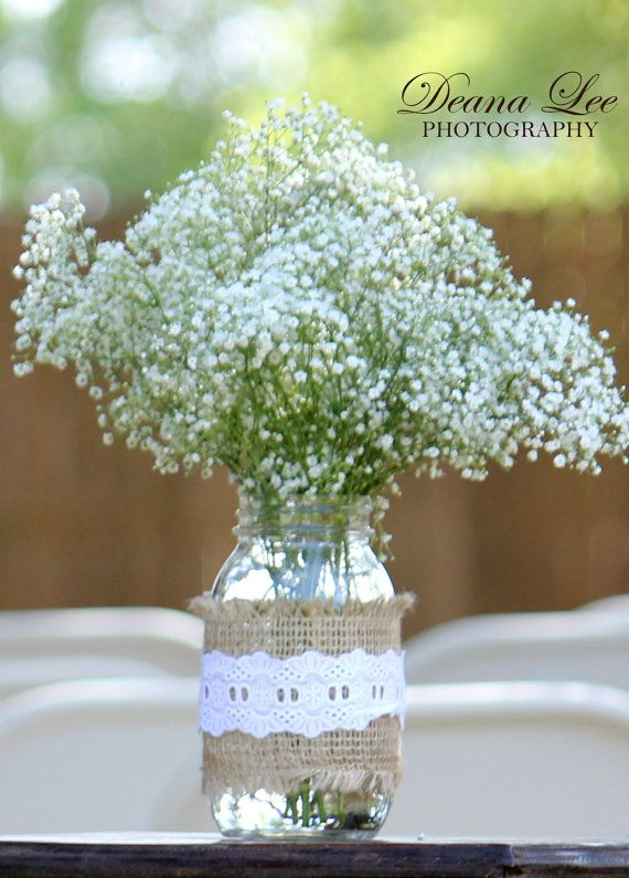 Shabby Chic Country Wedding Mason Jar by CountrySweetPlumCute, $9.00
