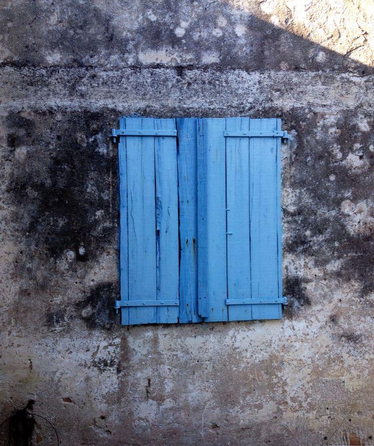Blue shutters, greek Island Zakynthos