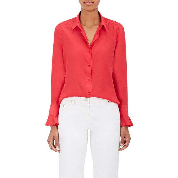 Barneys New York Women's Silk Satin-Back Crepe Blouse (22.145 RUB) ❤ liked on Polyvore featuring tops, blouses, pink, silk satin blouse, red long sleeve top, red blouse, long sleeve blouse and red ruffle blouse