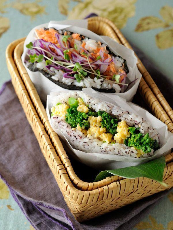 Lunch Box Recipe : 和風おにぎらず 2種/まるでお花畑のような、カラフルで軽やかな具材をあわせて、おにぎらずをセンスアップして!