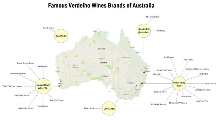 Famous Verdelho Wines Brands of Australia - Verdelho wine grapes are grown in two regions in Australia- Hunter Valley in New South Wales and Margaret River Valley region in Western Australia. The former is home to many noted wineries producing Verdelho wi