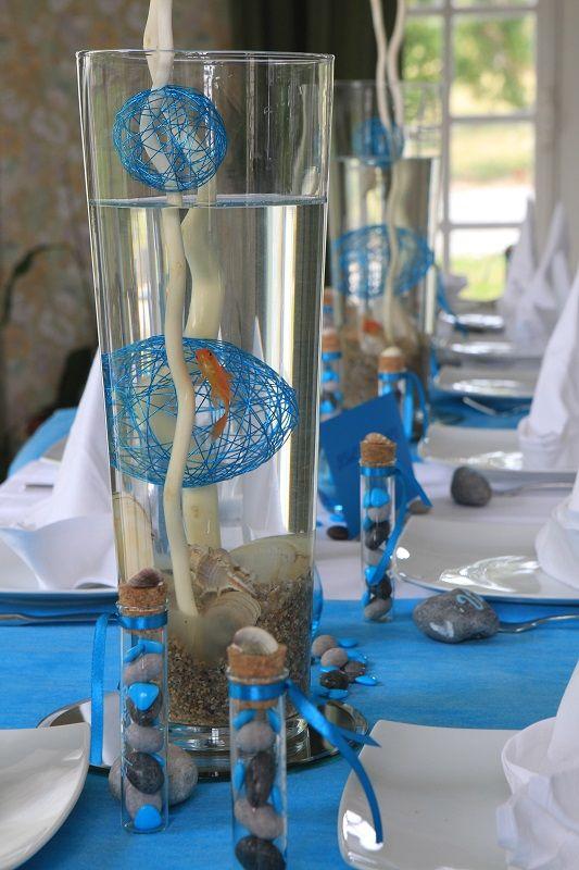 Centre de table, bocal poissons rouges.