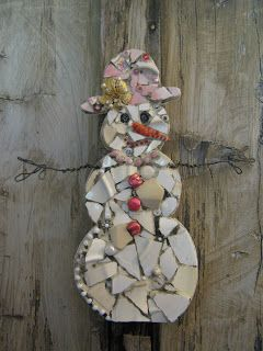 Mosaic snow woman with an old brooch hat accent!