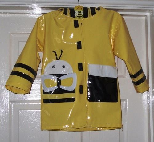 Kidorable pvc yellow bumble bee hooded rain coat Age 4 5