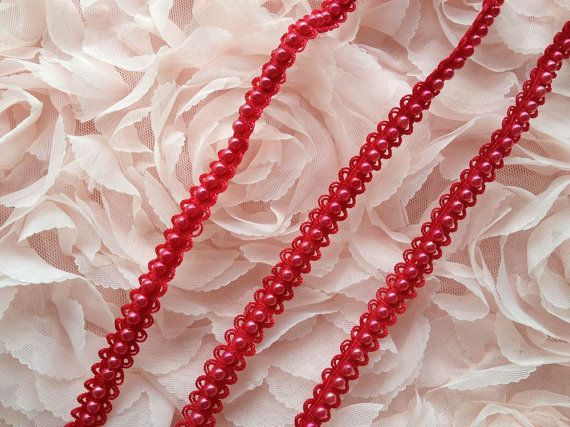 Stretch Beaded Trim, Red Pearl Elastic Lace Trim, Baby Headband Lace, Headbands Hair lace    This listing is for 1 yard. Width: 0.39 (1 cm)