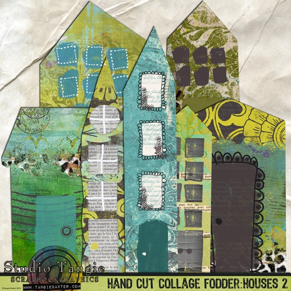 Hand Cut Collage Fodder: Houses 2 {Art Stomp} By Tangie @ Scrapbookgraphics.Com