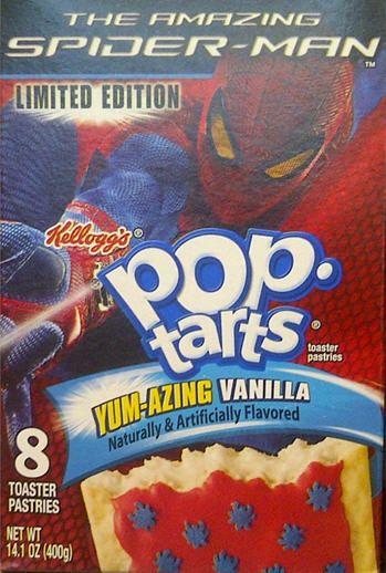 The Amazing Spider-Man Pop-Tarts. The Pop-Tarts have cute little blue spider sprinkles on red icing.