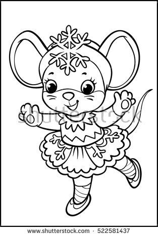 Coloring. Mouse in snowflake costume. Black contour on white background.