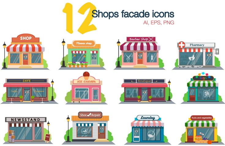 12 Set of flat design restaurants and shops facade #icons. Includes shop,newspaper,coffee shop,ice cream #shop, flower shop,vegetable #store,laundry, barber,shoe repair, pharmacy,boutique,toy store. #graphics #vector Download Now!