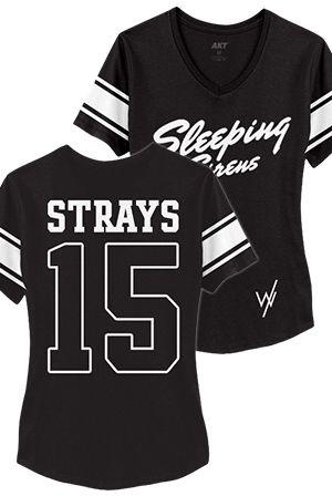 Team Strays Girls Sporty V-Neck (Black)