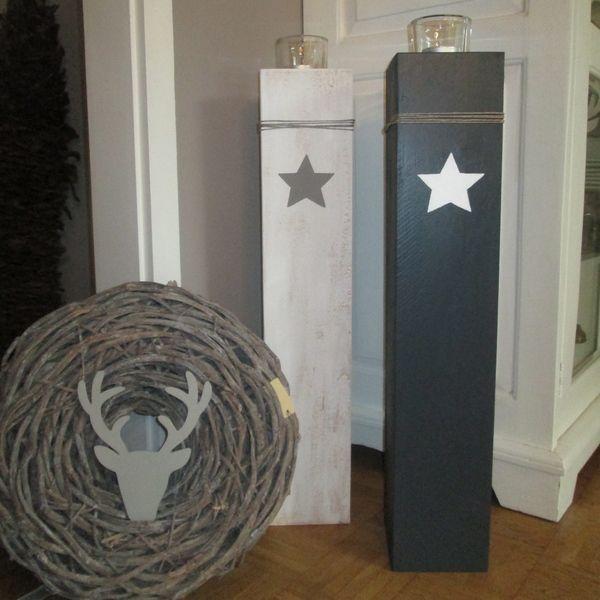 Shabby Style: XXL Windlicht Holz mit Stern  von Raumtraum auf DaWanda.com