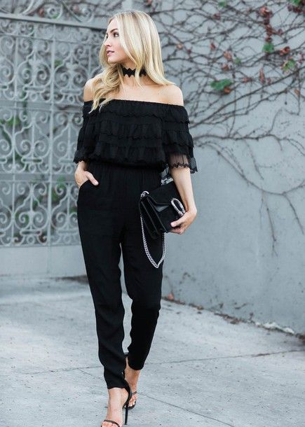 Jumpsuit: tumblr black ruffle off the shoulder bag black bag gucci gucci bag dionysus sandals sandal