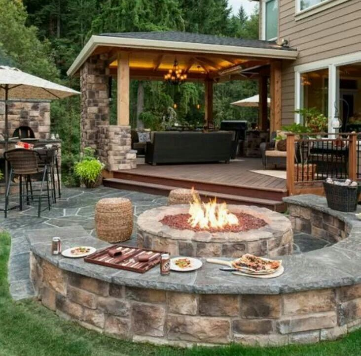 Porch With Hot Tub Fire Pit Seating