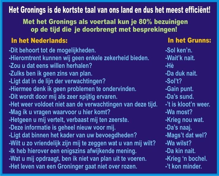 Woarom Nederlands as t Grunnegs kin?!
