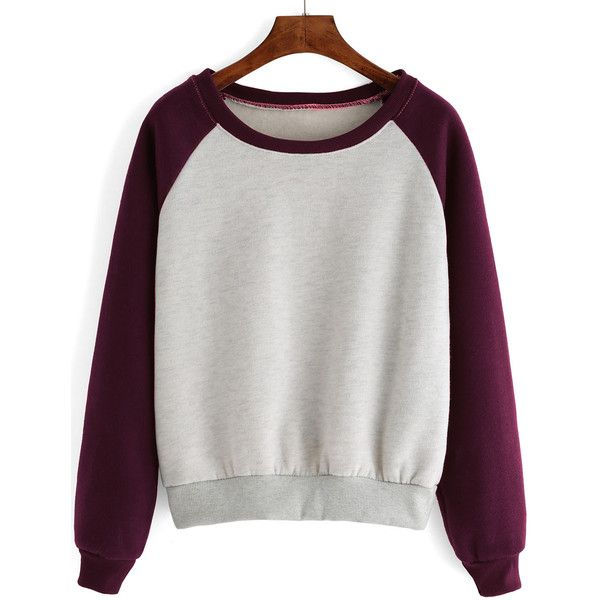 Raglan Sleeve Color-block Thicken Sweatshirt (17 CAD) ❤ liked on Polyvore featuring tops, hoodies, sweatshirts, jumpers, romwe, multicolor, long sleeve tops, color-block sweatshirt, raglan sleeve top and multi color tops