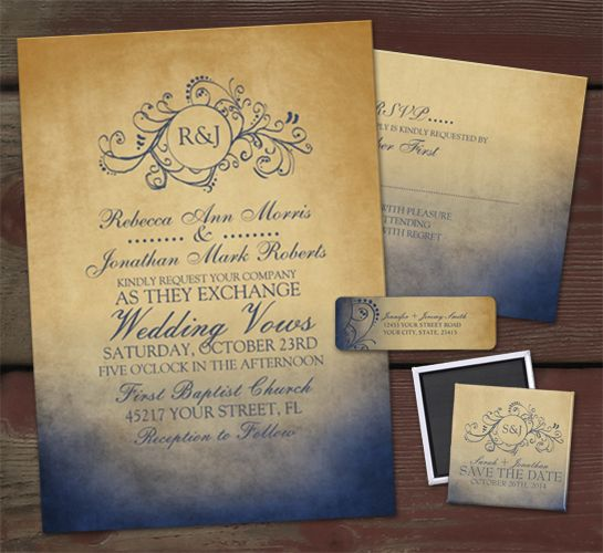 Love this Boho invite set! Beautiful and chic rustic bohemian styled wedding or bridal shower invitation featuring elegant navy blue and gold yellow colors. Includes a monogram at the top and fun text. Matching rsvp's , return address labels, save the date magnets, and more for a complete set to match your invites!