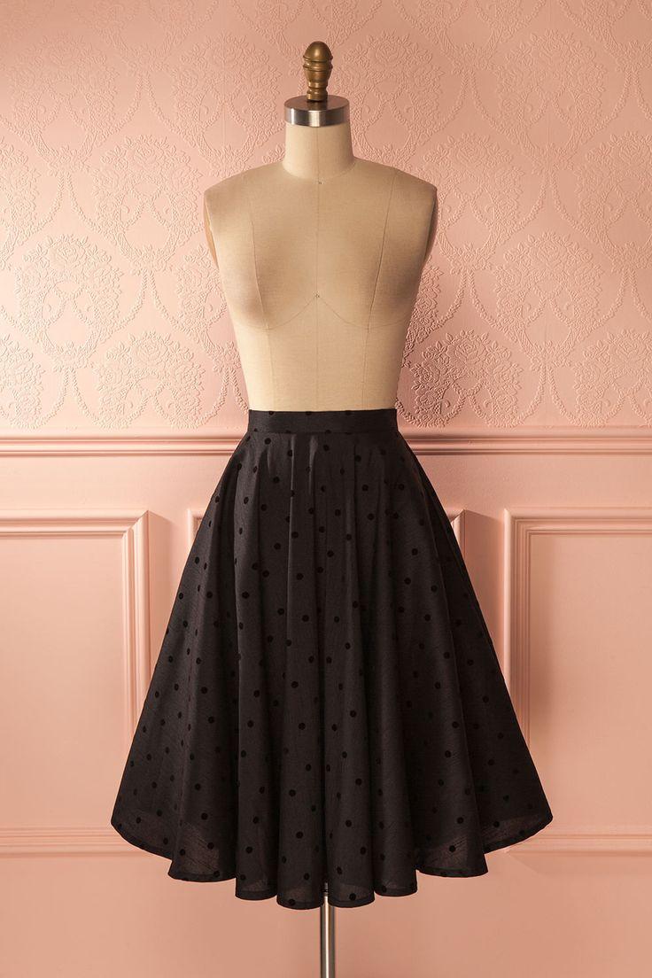 Courteney - Black polkadots circle skirt www.1861.ca