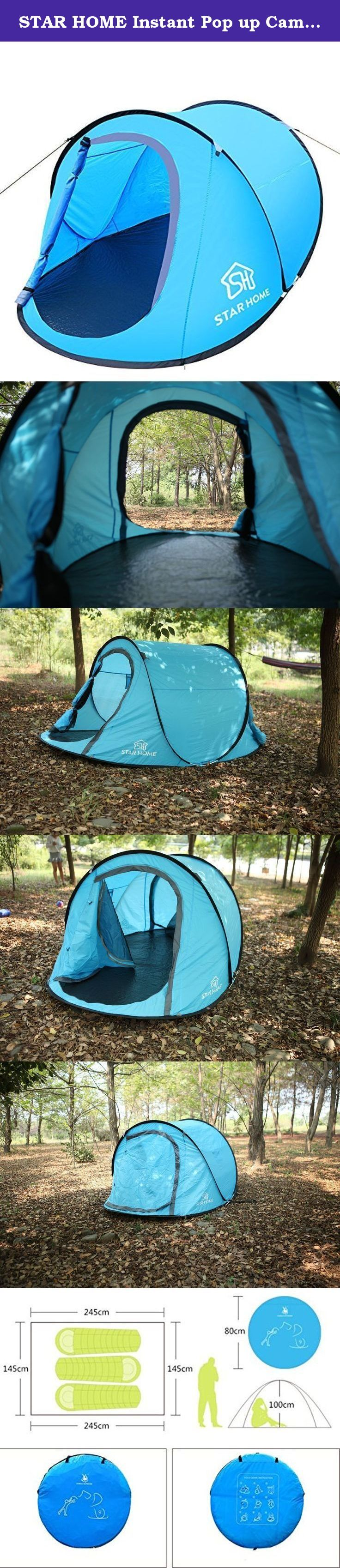 STAR HOME Instant Pop up Camping Tents (Blue). STAR HOME instant pop up tents, there is no need to attach any additional components, poles or covers to assemble! -------- Just Throw it, it will Pop Up! It comes in a circular carry bag with straps that can be used to carry the tent on your shoulder. Though factory said this tent is for 3 persons -- it really depends on the size of the persons. It is also a great gift for kids as play house. Open on both ends. Bottom is made of a durable…
