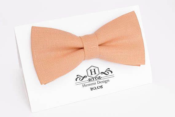 Peach Bow Tie, Pocket Square / Boy's Bow Ties / Men's Bow Tie / Peach bow tie For Men / Suited Pocket Square Boy's / Groomsmen Pack