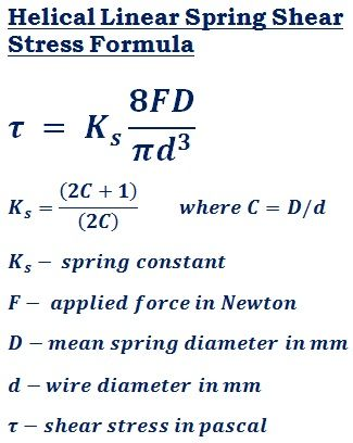formula to calculate shear stress of the helical linear spring (τ) @ http://ncalculators.com/mechanical/helical-linear-spring-shear-stress-calculator.htm