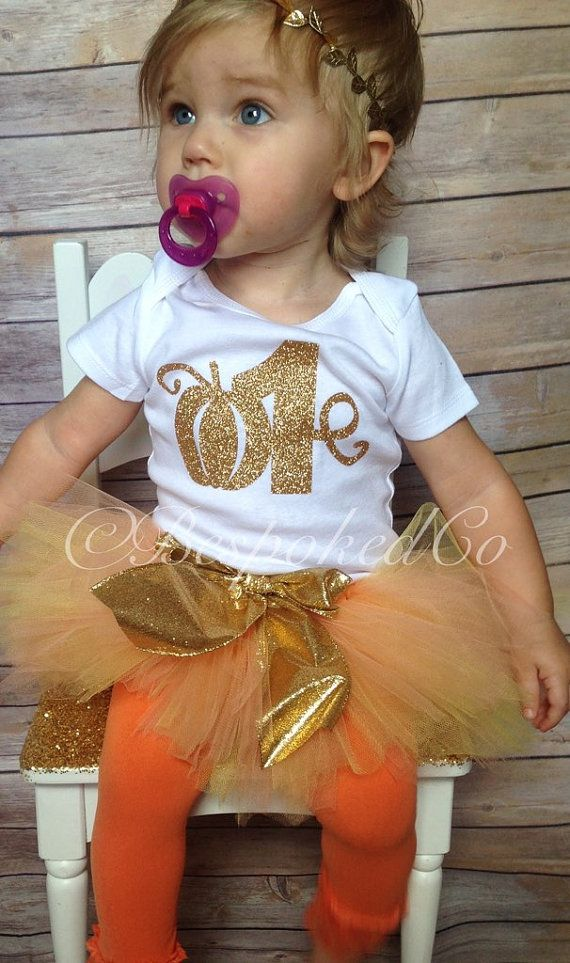 Fall first birthday outfit/Pumpkin first birthday by BespokedCo