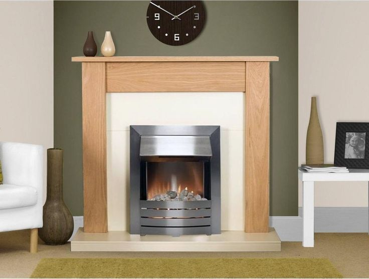 Electric Fire And Surround Part - 39: ELECTRIC FIRE WOOD OAK SURROUND SILVER FREESTANDING WALL CREAM FIREPLACE  SUITE
