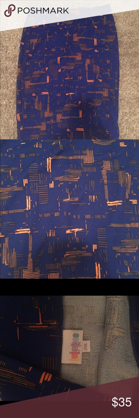 LuLaRoe Cassie skirt 2xl Blue and orangey skirt from lularoe.  Stretchy material Never worn, but no tag! LuLaRoe Skirts Pencil