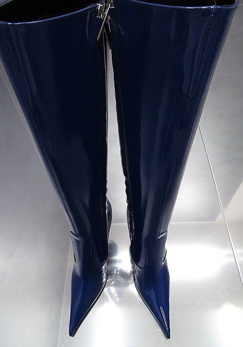047b338b21d7d9 LEDER HOHE STIEFEL BLAU 1969 ITALY E84 BOOTS SCHUHE LEATHER Übergröße HIGH  HEELS