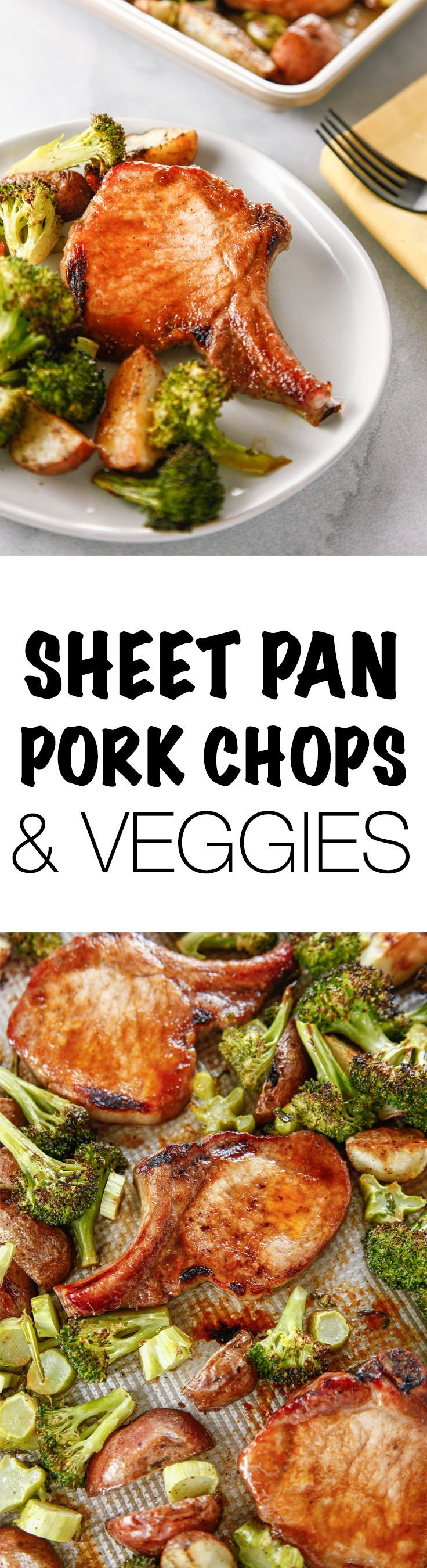 Crush this week by having an easy, healthy dinner ready in no time with this Sheet Pan Marinated Pork Chops and Veggies recipe! This meal is perfect for busy nights! One pan meals FTW! via @thebrooklyncook   #dinnerrecipes #dinner