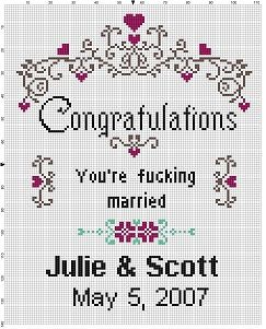 Congratulations! You're F*cking married - Wedding Cross Stitch Pattern - Instant…