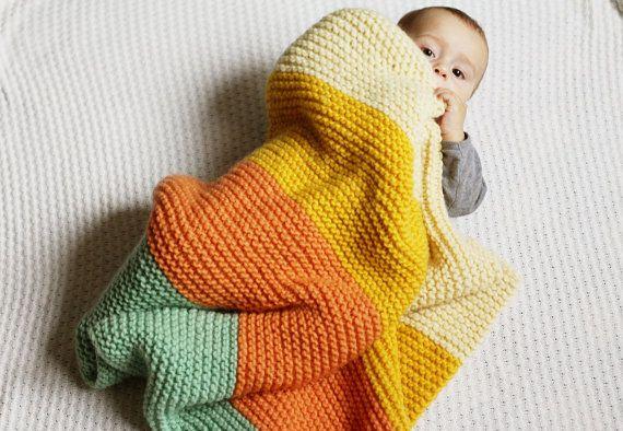 Baby Girl 100 lana acogedor cochecito manta del knit por LalaKa