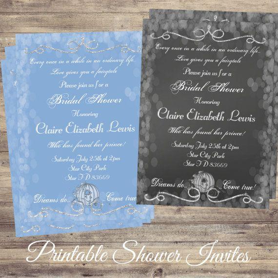 Cinderella Bridal Shower, Invitations, Cinderella Wedding, Fairytale Wedding, Invitation, announcement, wedding invitations, birthday cards