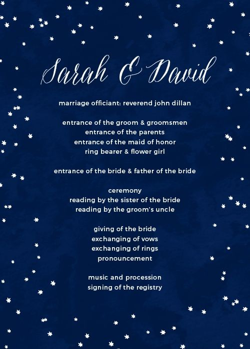 Under the Stars Wedding Programs in 2019 | Wedding | Star wedding