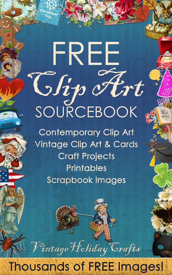FREE PDF eBook | Free Clip art Sourcebook | Links to thousands of free clip art and scrapbook images, printables, crafts