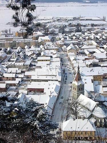 Snow in Risnov (Rasnov), Brasov, Romania