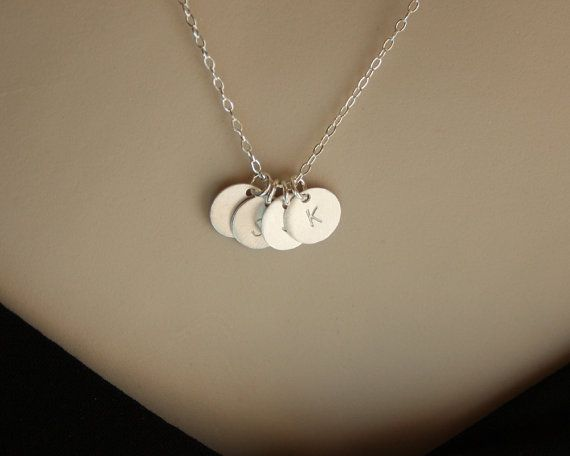 Initial necklace FOUR discs  Sterling Silver SATIN discs by untie, $34.00