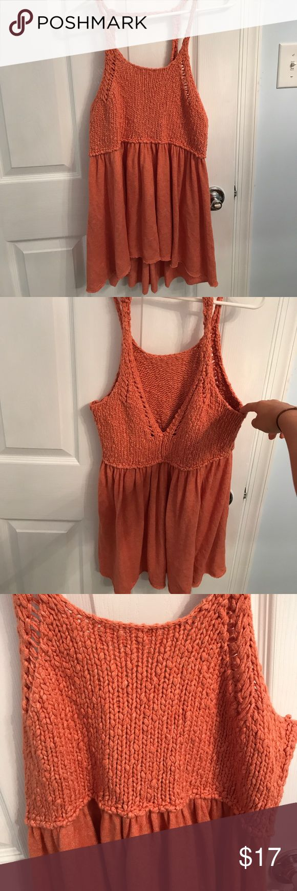 Free People shirt Coral colored, long shirt with thin straps, made of sweater-like material; round neck in front; V in back; size XS, but cut big Free People Tops