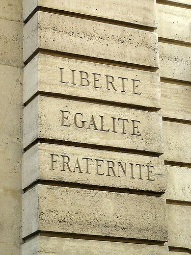 "Le Marais Quarter, ""Liberté, égalité, fraternité, / Liberty, Equality, Fraternity"", the national motto of France, Rue des Blancs-Manteaux, Paris IV"