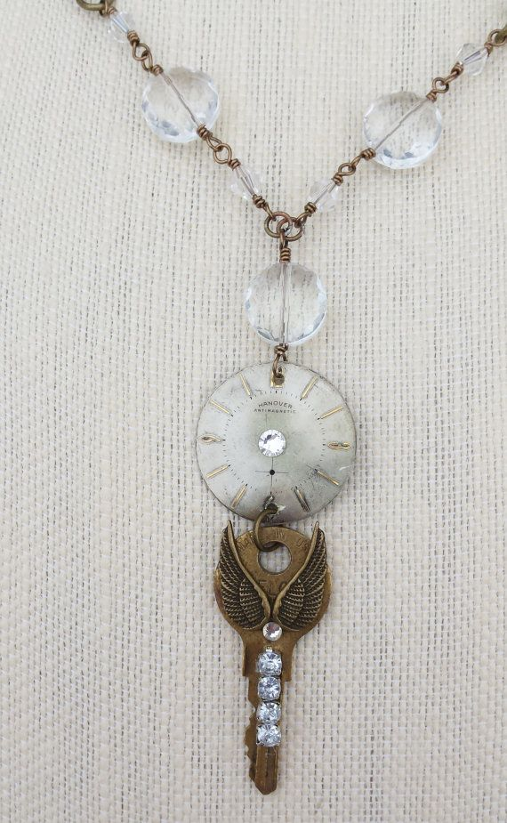 Steampunk Necklace of vintage watch face by