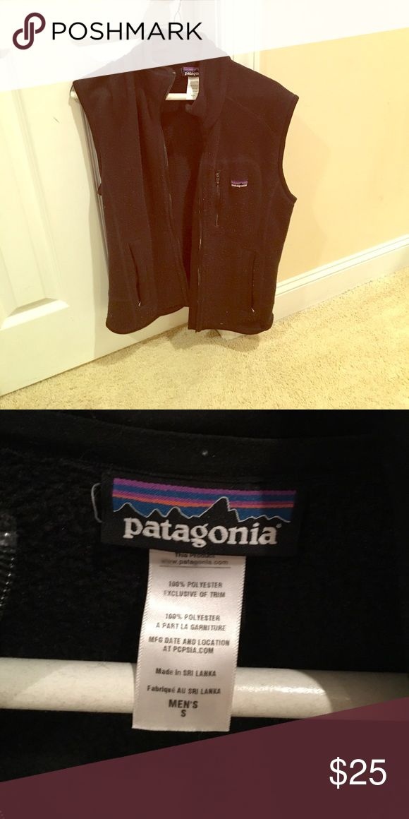 Patagonia vest! Black. Men's small fits a women's small or medium well! Pet free smoke free home! Quick shipping. Shows some signs of wear such as light peeling or fuzz but good vest and lots of wear left. Patagonia Jackets & Coats Vests
