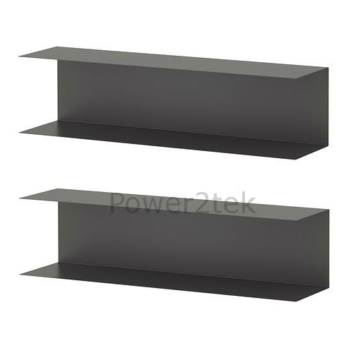 2 x IKEA BOTKYRKA Home Kitchen Steel Wall Mount Display Shelf 80x20cm Grey NEW