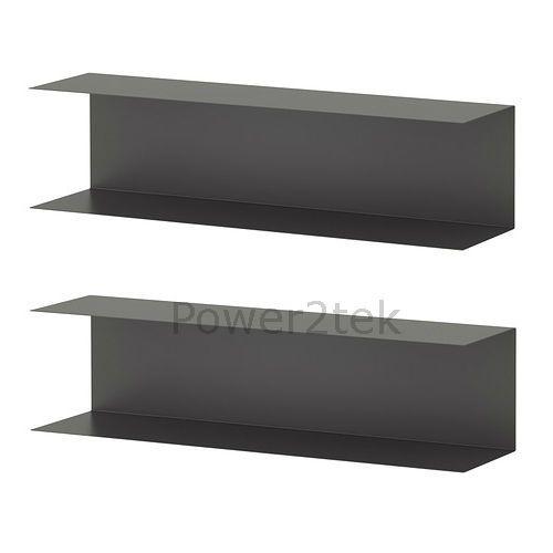 2 x IKEA BOTKYRKA Home Kitchen Steel Wall Mount Display Shelf 80x20cm Grey NEW
