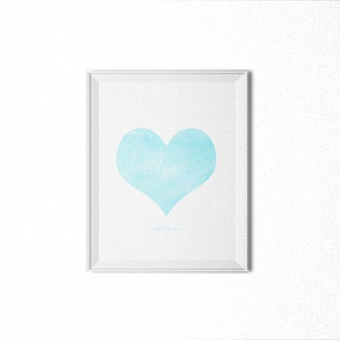 love heart minimalist watercolor blue 8x10 by PROMISEPRINTABLES