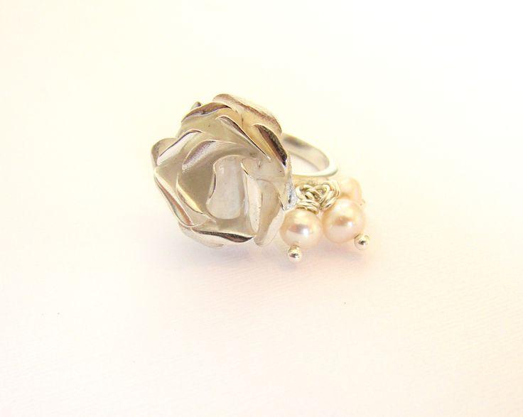 Anillo Rosa Mia : Plata 950, perlas de rio, COLECCIÓN ROSA MIA