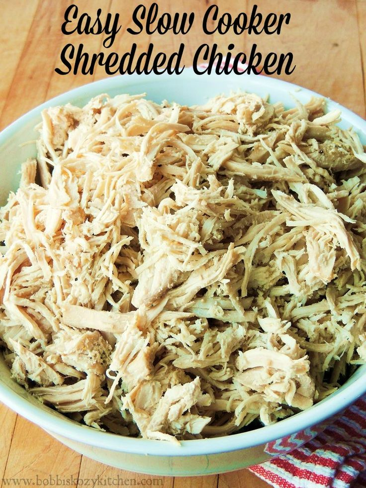 Easy Slow Cooker Shredded Chicken - No more need for those over priced rotisserie chickens. This will give you twice the chicken for the same amount of money, or LESS! From www.bobbiskozykitchen.com