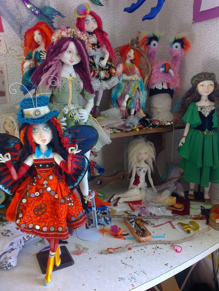 CORNER OF CRAFT ROOM  #craft room #art dolls #cloth dolls